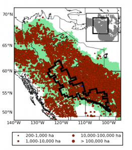 Map of western Canada (from 50 to 70 deg N and 100 to 140 deg W) with dots to indicate the relative size of large fires occurring between 1980-2014. There are distinct bands in central BC, and in a diagonal line from Manitoba up to the Yukon.