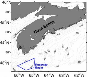 Map of Nova Scotian coastal waters (bathymetry in grey contours and depth in m) with Roseway Basin Critical Habitat, an area off the southwestern tip of Nova Scotia, outlined in blue.