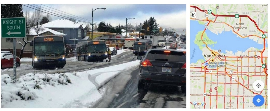 Photo shows cars and buses at a snowy standstill. Google map of Feb 3 2017 shows orange and red lines where traffic across Vancouver has stopped moving.