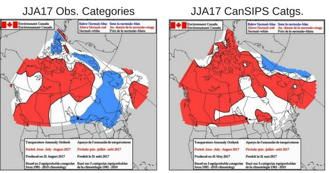 Image shows two images, maps of Canada, and the accuracy of the forecast predictions.