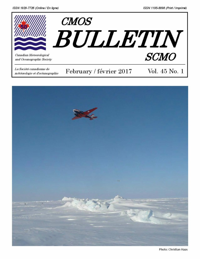 "Cover of the CMOS Bulletin SCMO Vol. 45 No. 1, February 2017. Photograph shows a DC3-T Basler BT67 aircraft carrying out electromagnetic (EM) ice thickness surveys in the Arctic Ocean between Canada and the North Pole. The EM sensor (""EM Bird"") can be seen 15 m above the ice, tethered 80 m below the aircraft."