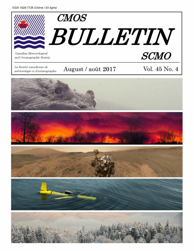 "Cover shows five different images. Top is a close up of an Oyster Toad Fish, showing only the protruding eyes. Second from top is a firey skyline, full of billowing clouds. Middle image is a shot of the curiosity rover on the barren sandy landscape of Mars. Fourth is a yellow ""glider"", a piece of equipment shaped much like a plane, sitting just at the water's surface. Bottom image is a very snowy treeline, with snowy Mountains in the distance."
