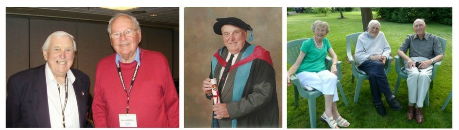 3 photos. First shows Dick Morgan (elderly caucasian male, clean shaven) with another caucasian male in his late 50's. Second photo is Dick Morgan in his 80's in his doctoral conferring gear holding on to his certificate. Third photo is Dick just after his 100th birthday with a couple in their 60's or 70's, sitting in lawn chairs in the sunshine.