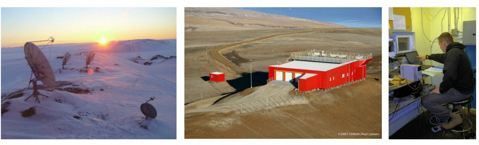 Three photos. First shows a snow covered scene, with the setting sun, and 3 satellites in the foreground. Second shows a large red shed-like building, on a barren, brown, snow-free Arctic Landscape. Third shows a man sitting at a computer workstation.