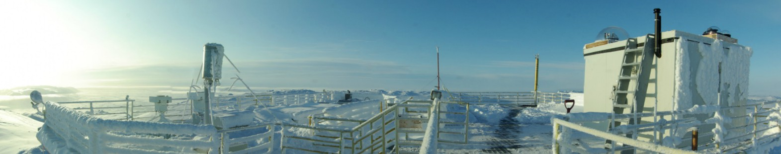 Photo shows the roof of the laboratory at PEARL, containing numerous atmospheric monitoring devices.