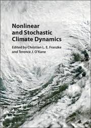 Cover image for nonlinear and stochastic climate dynamics shows  a satellite view of swirling clouds.