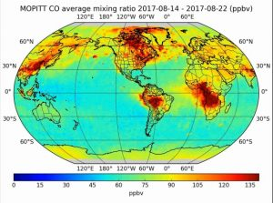 MOPITT map of carbon monoxide (CO) over the planet for 14-22 August 2017 with interpolation to fill data gaps.  The CO outflow from the summer forest fires in Western Canada covers much of Canada and there are several other centres of CO production visible.