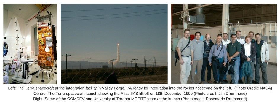 Three MOPITT images. The first is inside a NASA laboratory, men clad in white clean wear, with the large metallic gold Terra. The second is a view taken from the ground of the Terra rocket being launched, the third is a MOPITT team of ten men, all smiling.