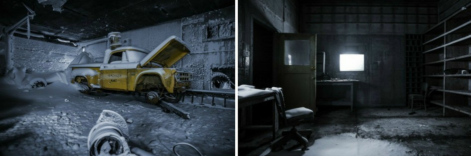 Two photos from the abandoned Isachsen weather station. The first shows an old yellow pick up truck, with the word Isachsen printed on the side. It sits in a frozen room covered in snow with the hood up. The second shows an empty frozen office, with some shelving, a desk and an office chair.