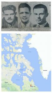 Top image shows headshots of three young men taken from a newspaper. Bottom shows a map of upper Canada including the location of Eureka in the far north.