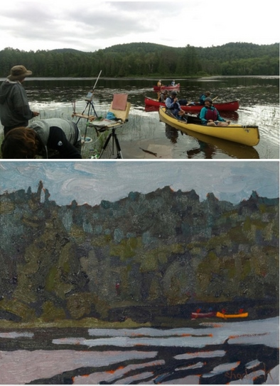 Two images top one shows Phil Chadwick painting a scene beside a lake with several other EcoArtists in their canoes on the lake. Bottom image shows one of Phil Chadwick's finished paintings from the DRAW retreat titled Morning on Robinson Lake