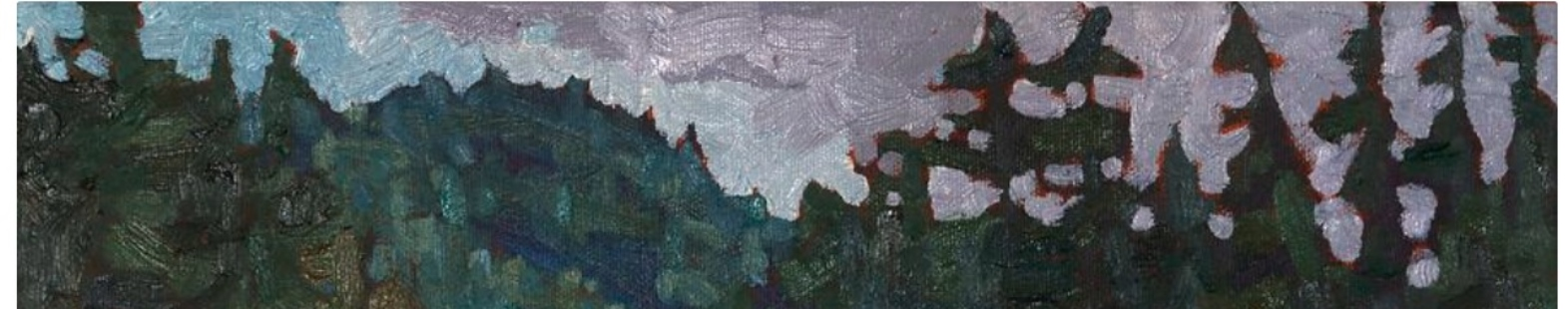 Cropped photo of Phil Chadwick's painting Morning on the Grand Chute for the EcoArtists story