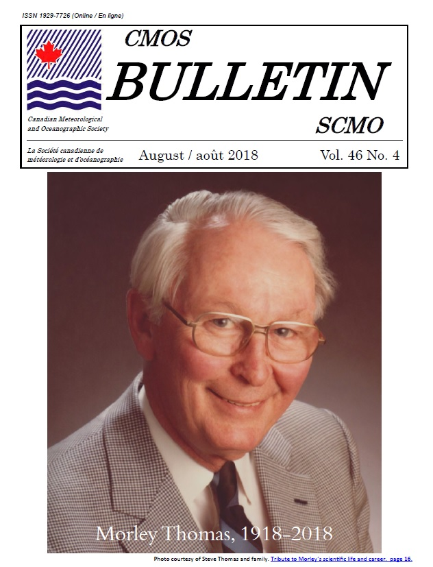 Cover of Vol.46 No.4 of the CMOS Bulletin shows photo of Morley Thomas