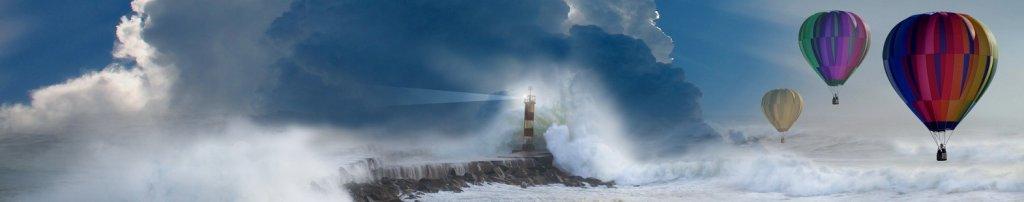 Banner image for the story Les dix événements météorologiques les plus marquants au Canada en 2018 shows a lighthouse, crashing waves, and 3 hot air balloons