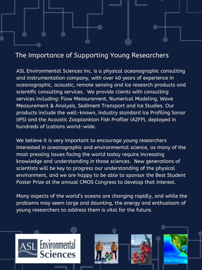 Photo containing text on ASL an oceanographic equipment supply company and why they support the CMOS poster prize for students like Chantal Mears