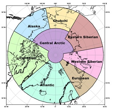 Map of the Arctic showing various colours for the seven different regions.