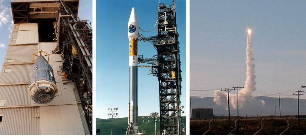 Three photos showing the NASA rocket and launch of MOPITT