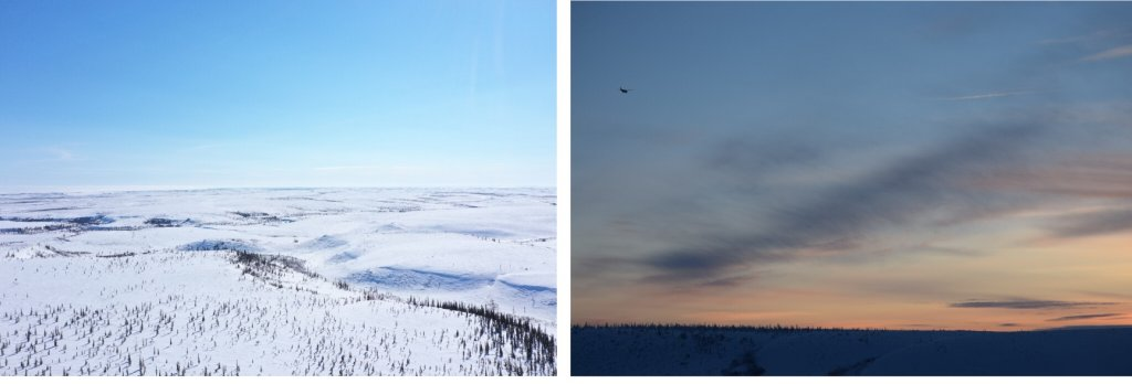 Two aerial photographs of the Arctic tundra, one by day, the other by night
