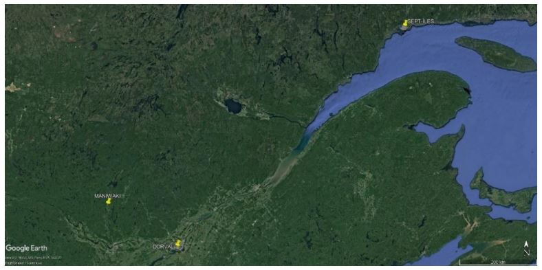 Satellite image over Quebec - green and blue